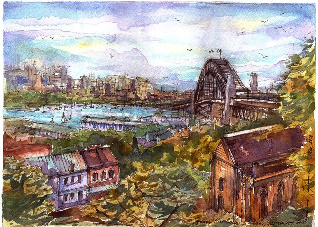Observatory Hill,Sydney Harbour Bridge,warecolor,ink,gouache,pen