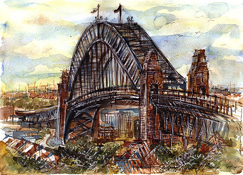 Sydney Harbour Bridge,watercolor,ink,gouache,pen.