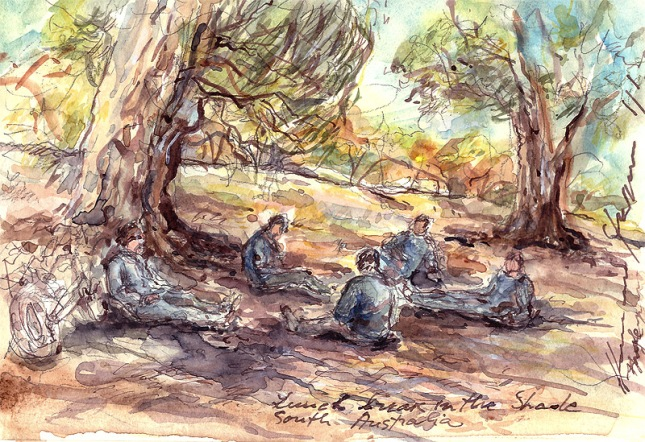 Lunch break in the shade,South Australia