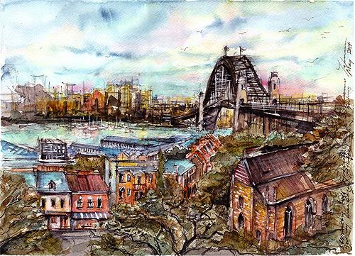 Observatory Hill,Sydney Harbour Bridge,watercolor,ink,gouache,pen