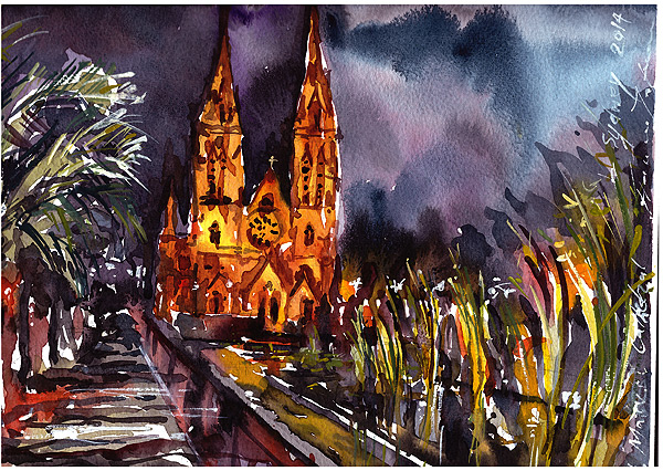 St Mary's Cathedral,Sydney,watercolor,ink, gouache,pen