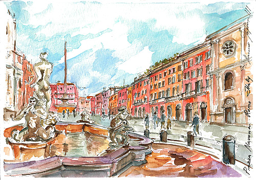 Piazza Navona,Rome,Italy,watercolor,black pen