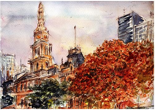 Sydney Town Hall,watercolor,ink,pen